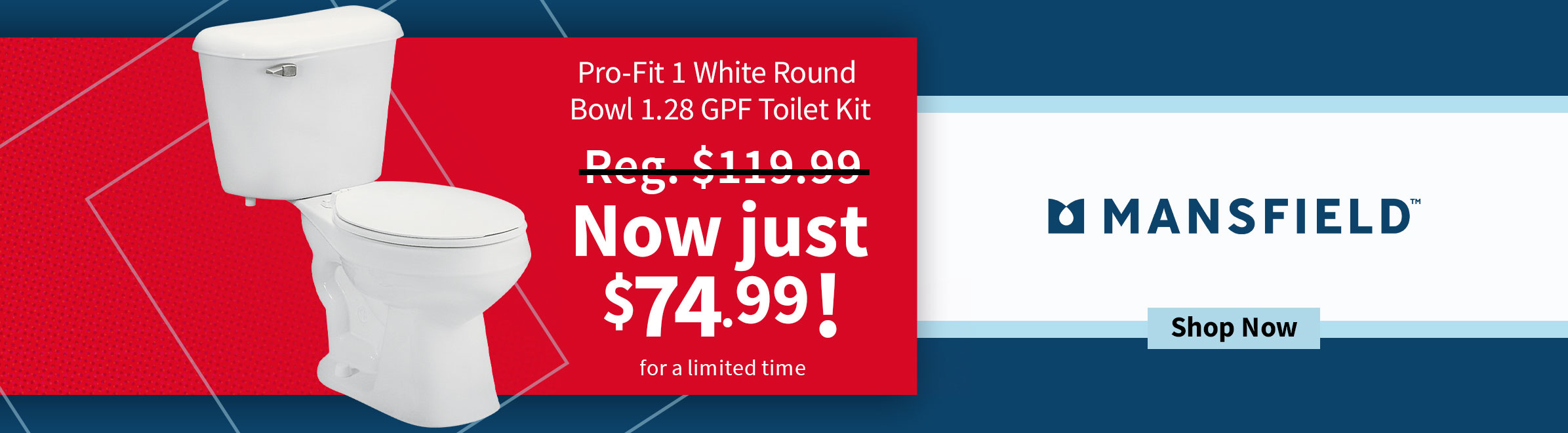 Mansfield Pro-Fit 1 White Round Bowl 1.28 GPF Toilet Kit