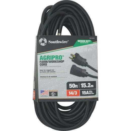 Southwire AgriPro 50 Ft. 14/3 Medium-Duty Farm Extension Cord