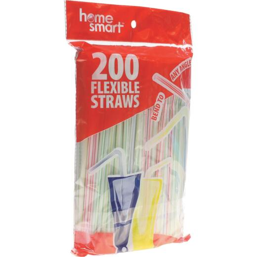 Home Smart Flexible Plastic Straws (200-Count)
